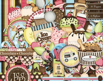 On Sale 50% Ice Cream Digital Scrapbook Kit - Digital Scrapbooking