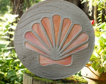 Seashell Stained Glass Stepping Stone Scallop Design #526