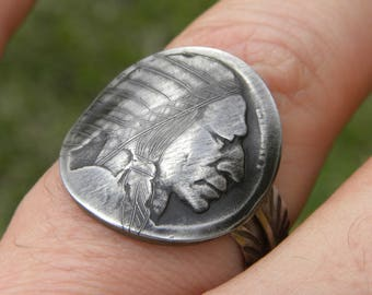 Ring Original handcrafted Hobo Nickel Coin Art feather 925 solid sterling silver easy to adjust nice gift for biker surfer Native Indian