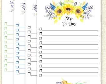 Sunflower To Do List - Watercolor Notepad - To Do List Notepad - 25 pages