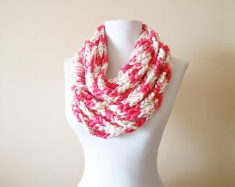 Chain Loop Scarf, Pink White Crochet Loop Scarf, Chain Loop Scarf, Crochet Infinity Scarf, Chain Scarves, Yellow Pink Crochet Scarf