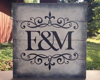 E&M Initials Wood Pallet Sign