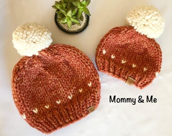 Beanie with Pom Pom - Mommy and Me - Knit Beanie with Pom - Knit Beanie - Pom Pom Hat - Chunky Yarn Beanie - Knitted Hat - Toque - wool hat