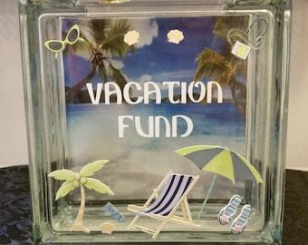 BEACH/SEA Theme Vacation Fund Glass Block Piggy Bank (Travel Fund)