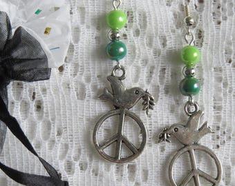 Silver peace dove earrings