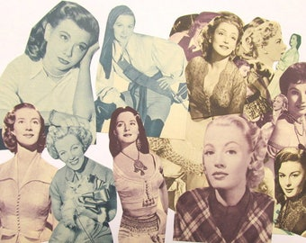 Vintage Hollywood actress die cuts: pack of 50 hand cut paper pieces. Black and white craft paper for collage, scrapbook, journal PE416