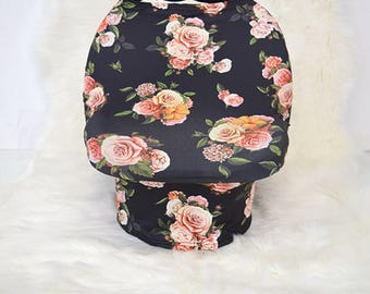 Floral Car Seat Canopy / Nursing Cover / High Chair Cover / Stretchy Car Seat Cover / Baby Shower Gift