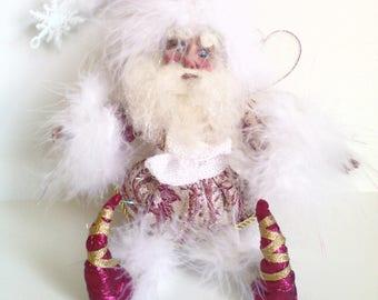 Fairy Christmas decoration Christmas decor shabby chic Christmas cottage chic Christmas tree ornament fairies Santa fairy
