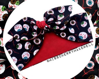 Horror Eyeballs Punk Alternative Rockabilly Vintage 1950's Pin Up Head Scarf Hair Tie Headscarf Hair Bow by Miss Cherry Makewell
