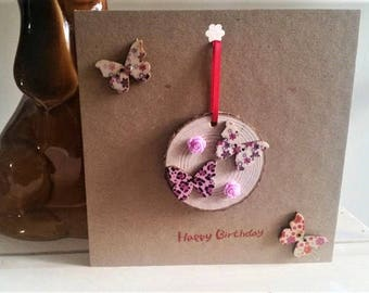 Butterfly Birthday Card & Butterfly Gift - Butterfly Card - Handmade Card - Butterfly Plaque - For Her - Friend, Sister, Daughter, Mum