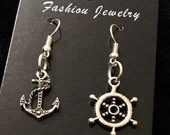 80p UK P&P Handmade nautical odd anchor and ship wheel rudder earrings silver plated alloy pendants lead and nickel free rocksbilly sailor