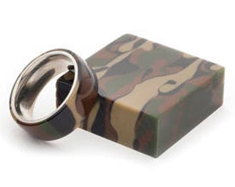 Handmade Camo Acrylic And Stainless Steel Ring