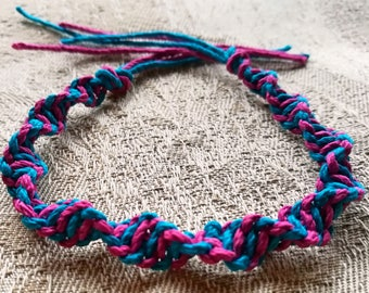 Pink & Turquoise spiral knotted hemp bracelet - child/small adult size.