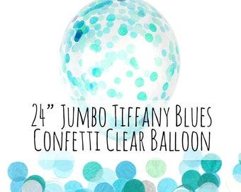 "24"" Tiffany Blue, Aqua, Turquoise Confetti Balloon, Large Clear Balloon Filled with Turquoise Aqua Confetti, Party Decor, Wedding Photo Prop"