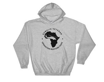 Somalia Veteran Hooded Sweatshirt Black Print