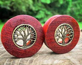 """Organic Bloodwood Tunnels with Tree of Life Inlays for Stretched Ears- Sizes available 1""""(25.5mm) through 32mm/ Wooden Plug Gauges / Black"""