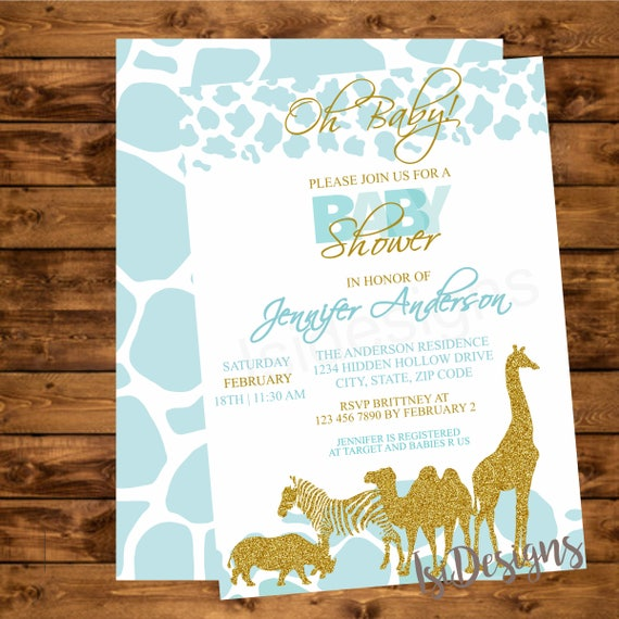 Teal safari baby shower invitation printable teal and gold jungle il570xn filmwisefo