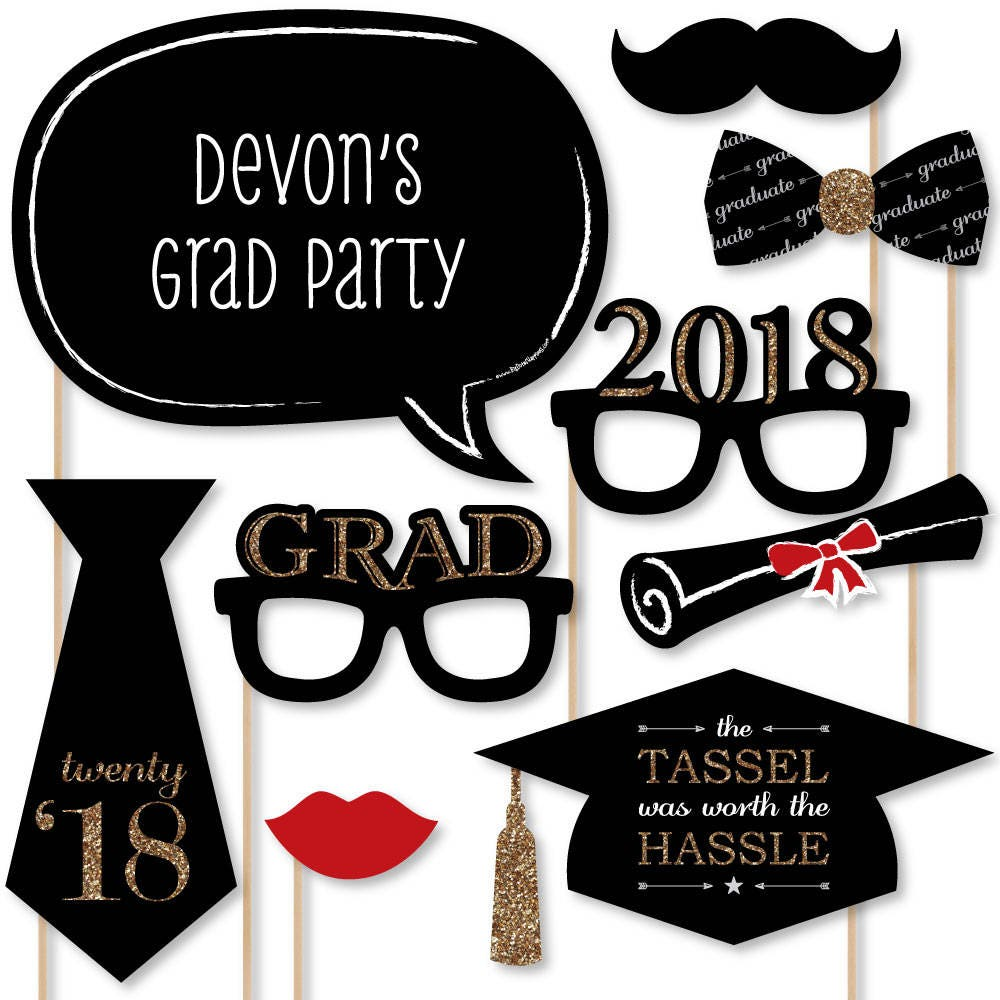 2018 Graduation Photo Booth Props Gold Photobooth Kit with