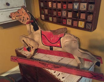 Very unusual early antique folk art wooden farm horse! Wonderful paint! Amazing details!