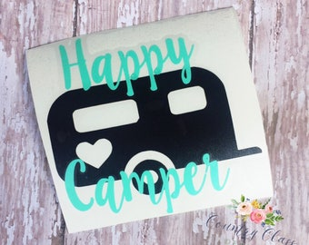 Happy Camper Decal || Yeti Decal || Cup Decal