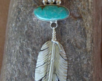Navajo handmade Royston Turquoise and sterling silver feather Pendant (B)