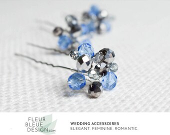 blue hair jewelry | something blue | set of hairpins | crystal hair pins blue crystal hair pins | rhinestone hair pin | bridesmaid gift