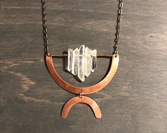 Copper and quartz 2 tiered necklace #3