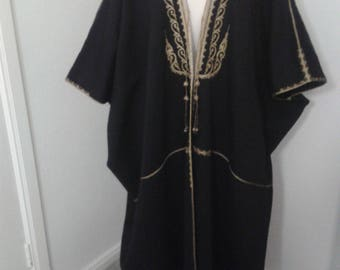 Antique Vintage 1910s 1920s wool Middle Eastern Bisht Cloak Syria Lebanon cord embroidery
