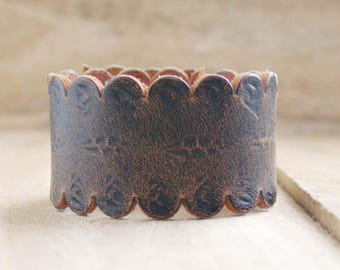 CUSTOM HANDSTAMPED brown leather cuff with scallop design by mothercuffer