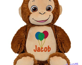 Monkey baby gift etsy cubbies bugaloo the monkey baby gift personalized teddy negle Image collections