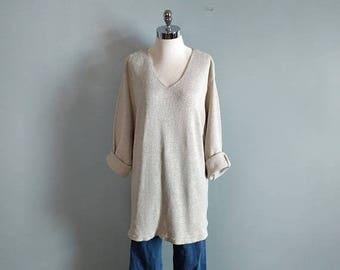 SALE vintage 90's oversized silk tunic in beige