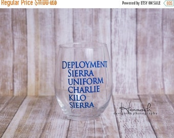 ON SALE Deployment Survival Wine Glass, deployment, Deployment glass, deployment wine, deployment survival, military wine glass, wine glass,