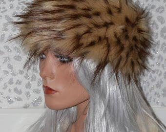 Gorgeous Long Haired Luxury Beige Faux Fur Headband with Spiky Brown Tips
