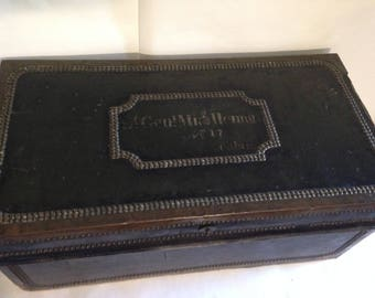 Antique Leather Bound Traveling Trunk - Brass Studs - Lt Genl Michlemore?