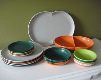 Vintage Coloramic Modern Dinnerware - Made by Melmac - Melamine Dishes - 21 PCS.