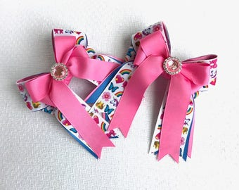SHORTY Unicorn Emoji Horse Show Bows/Pink Sparkle Gem