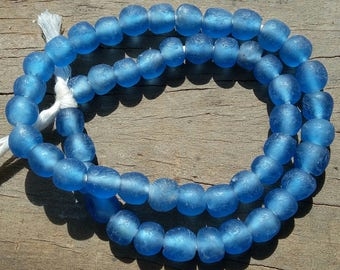 """African recycled glass beads, 9 mm.diam., 1 strand, 16"""" (41 cm.), 49/54 beads, Mali blue"""