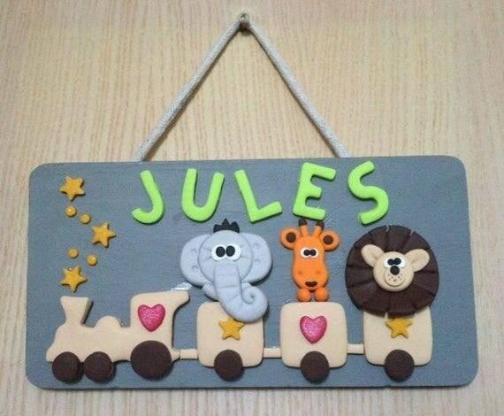 Plaque de porte en fimo chambre enfant jules for Plaque de porte chambre enfant