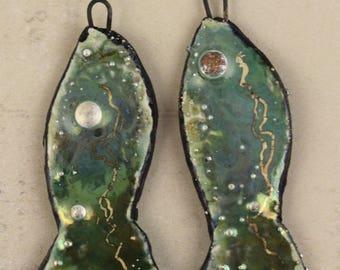2 Handmade ceramic art charms earrings/pendants dangles glaze pure silver droplets gold