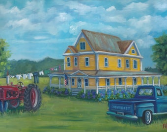 Making do, painting,landscape, country art, ready to hang, americana