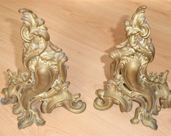 Antique French Brass Fireplace Andirons  Decorative Repurpose