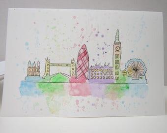 London, watercolour card, London card, London watercolour, hand painted card, London painting, birthday card, blank card, London skyline