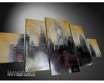 Modern abstract painting New York quote