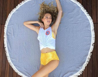 SALE Round Blanket Gray Diamond Pattern |  Throw Blanket  Boho Round Turkish Towel Beach Towel Roundie Beach  Yoga Mat Beach Access BRD03