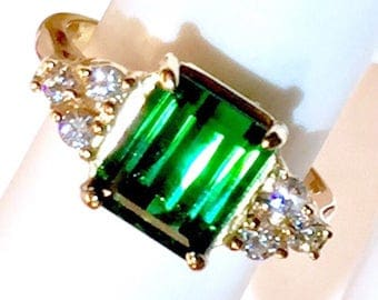 Natural Eye clean glowing green Tourmaline Diamonds Art Deco style 14k gold Engagement or October Birthstone Ring