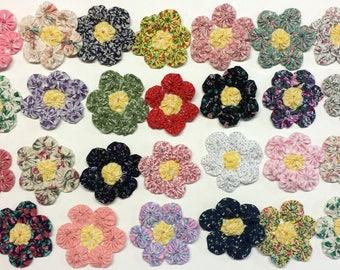 "27 YoYo Flowers Multi Colors - Each Fabric Flower Approx 1 1/2"""