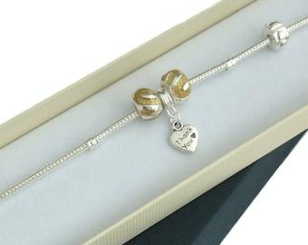 Thank You Gift for Bridesmaid or Teacher, European Charm Bead Bracelet