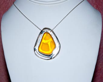 """Free Form Sunshine Yellow Color Sea Glass Necklace in a Sterling Silver Caochon. 16"""" Sterling Silver Chain & Gift Packaging Included."""