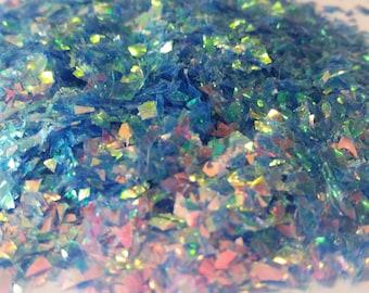 Iridescent Cellophane Glitter Flakes White Bag Iridescent Glitter Flakes Cellophane Flakes Iridescent Flakes Mylar Flakes Blue