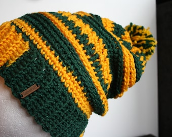 Green and Gold crochet slouch hat